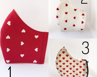 Heart fabric mask with filter pocket