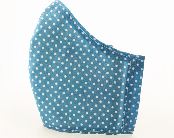 Blue fabric mask with filter pocket, women's mask in polka dot cloth, washable woman mask