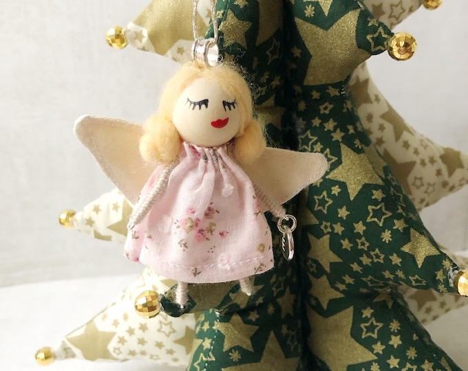 Angel for custom Christmas tree with initial, angel Christmas ornament