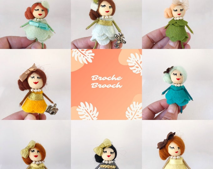 Brooch dolls in various colors with felt dress