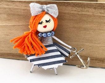 Blue sailor doll brooch - nautical brooch - nautical fashion - sailor brooch - marine doll