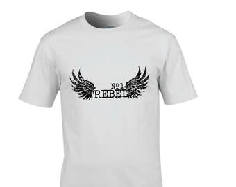 Rebel number 1, T-shirt, white, size S, M, L, XL