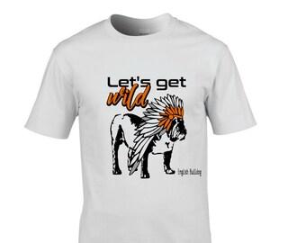English Bulldog, T-shirt, white, size S, M, L, XL