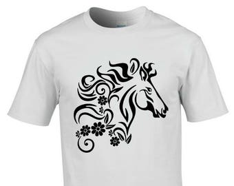 Horse with flowers 2, T-shirt, black or white, size S, M, L, XL