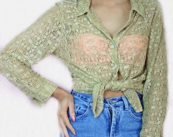 TWISTED SISTA Noughties Sheer Gold Lace Blouse