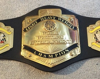 WWE Light Heavyweight Championship Replica Belt Gold Plated Metal Plates Model Black Leather Adult Size Hand Crafted