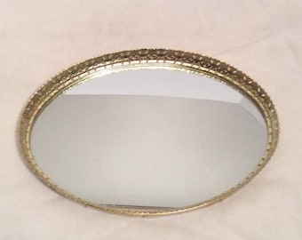 Vintage Mirrored Vanity Tray Brass Filigree