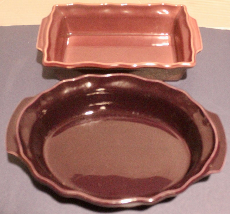 Vintage Made in France Set of 2 Earthenware Casserole Baking Dishes Esprit de France