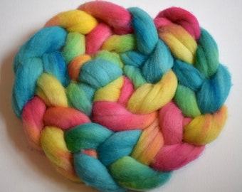 Rainbow Sorbet - hand dyed american wool roving - spinning fiber - felting wool - hand painted roving - rainbow spinning fiber - handdyed