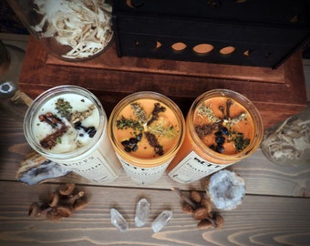 Samhain Sabbat 7 Day Candle    Wiccan Witchcraft Pagan Ritual Spell    Herb Soy Candles    Witchcraft supplies