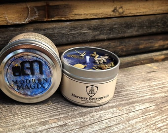 Mercury Retrograde Mini 2 oz Travel Container Candle Tin   Wiccan Witchcraft Pagan Ritual Spell   Herb Gemstone Soy Candles