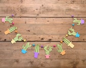 Cactus Garland with Rainbow Pots and Felt Balls Succulent Garland Mexican Fiesta Party Photo Backdrop Boho First Fiesta Wall Decor
