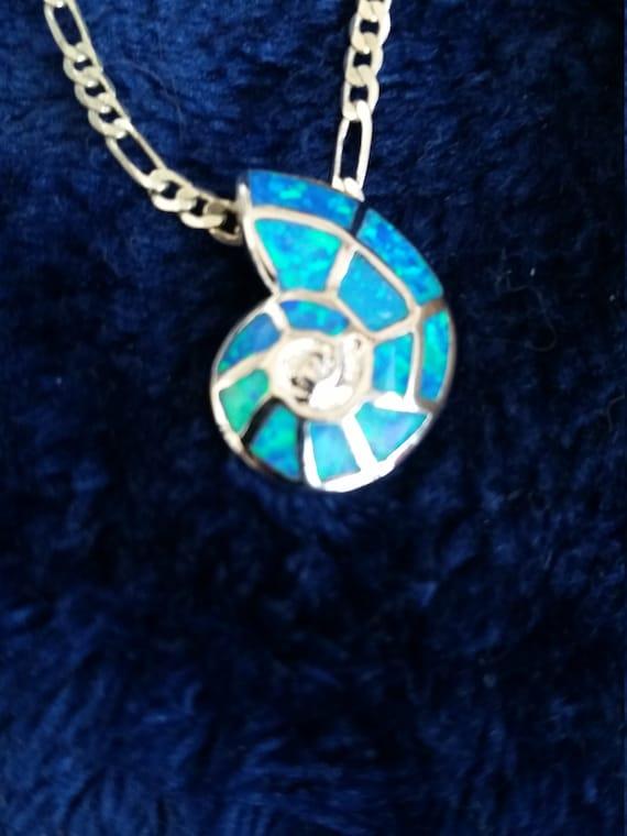 Snail Shark Eye Pendant In Aid With Beautiful Aqua Blue Fire Etsy