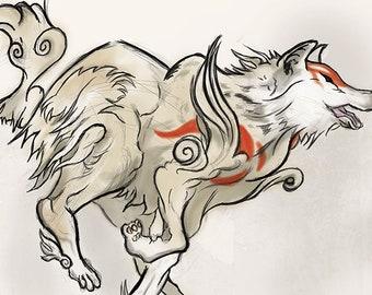 Okami Amaterasu Art Print - Handmade Japanese Art Okami Painting for Gamers   Unique Japanese Game Wall Decor for Okami Fans & Wolf Lovers