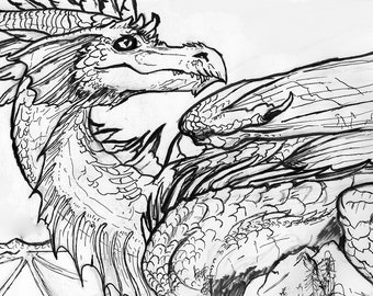 Fantasy Dragon Portrait Art Print In Black And White - Aesthetic Above The Bed Wall Decor
