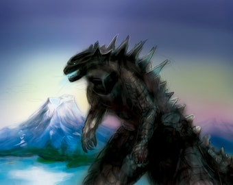 Godzilla Art Print - Handmade Premium High-Quality Kaiju Artwork Print   Wall Decor Gifts for Monster Lovers & Godzilla Fans