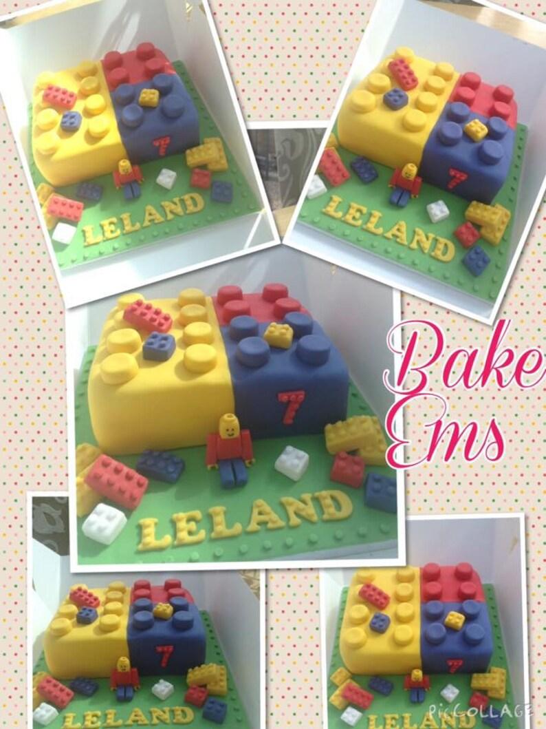 Personalised Handmade, Edible Lego Cake Topper Set
