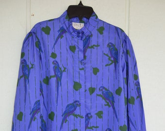 Vintage 1960s THE VESTED GENTRESS Size 12 M Purple Parrot 2pc Blouse Belted Skirt Set  Polyester