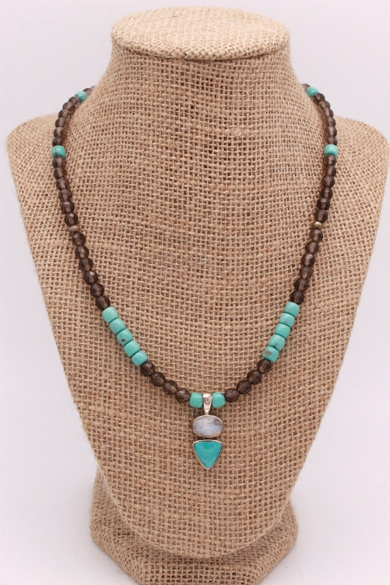 925 Solid Sterling Silver Rose Gold Vermeil Mini Pendant Necklace Natural Turquoise Beaded Necklace Moon Stone Beaded Necklace