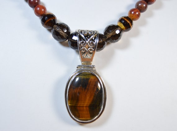 Natural Tiger Eye Pendant Anniversary Gift For Her Oval Tiger Eye Pendant Filigree Jewelry 925 Sterling Silver Pendant Handmade Pendant