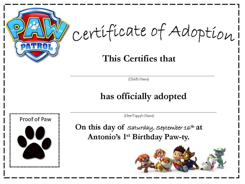 Paw Patrol Puppy Adoption Certificate Custom Printed Etsy