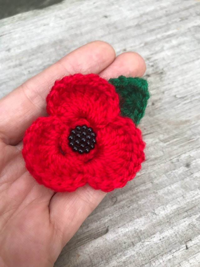 Remembrance day crochet poppy flower brooch safety pin for etsy image 0 mightylinksfo