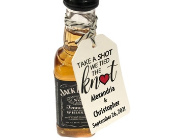 Wedding Favor Tags - PERSONALIZED Take a Shot We Tied The Knot Custom Wedding Favors Tag - Alcohol Shot Tags - Wedding Thank You Gift Tags