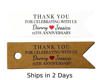 Anniversary Favor Tags - Personalized Anniversary Party Favor Tags AT003