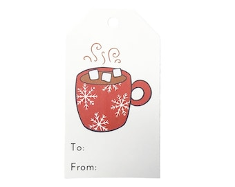 Hot Cocoa Large Gift Tags - Christmas Gift Tags - Cute Hot Chocolate Gift Tags