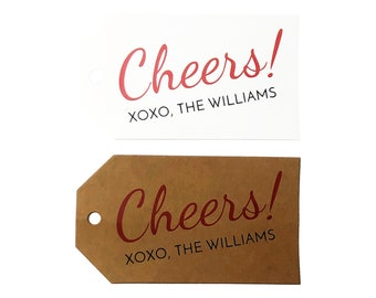 Cheers Gift Tags - PERSONALIZED Cheers Tags, Wine Gift Cheers Tags - Christmas Holiday Gift Tags - Hanukkah Cheers Tags