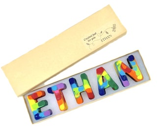 3aff1e797 Easter Gift NAME Crayons in a Gift Box - Personalized Alphabet Rainbow  Crayons - Easter Basket Stuffers - Easter Toy Gift for Kids