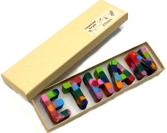 KIDS Wedding Favors - NAME Crayons in a Personalized Gift Box - Alphabet Rainbow Crayola Crayons - Flower Girl Gifts - Ring Bearer Gifts