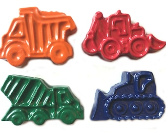48 Construction Vehicle Crayons - Birthday Party Favors - 12 Sets of 4 Crayons