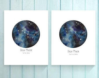 Big Dipper. Little Dipper. 8x10 Digital Print. Galaxy watercolor. Nursery print. Birthday Gift.