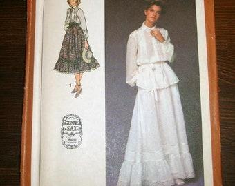 9174496e2a2 Authentic Vintage 80s Gunne Sax Uncut Sewing pattern Blouse   Maxi Midi  Skirt Prarie Festival Bridal Victorian Romantic Modest Sz 10