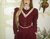 VTG 1970s Prairie Gunne Sax Suit Skirt Dress Midi Hippie, Peasant, Maroon Corduroy, Modest, Sz 7 Waist 28 quot