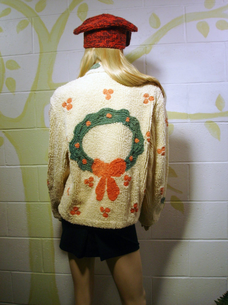 Vintage Chenille Bedspread Jacket Coat Caridigan Christmas Holiday Wreath Motif Bohemian Retro Chic SML