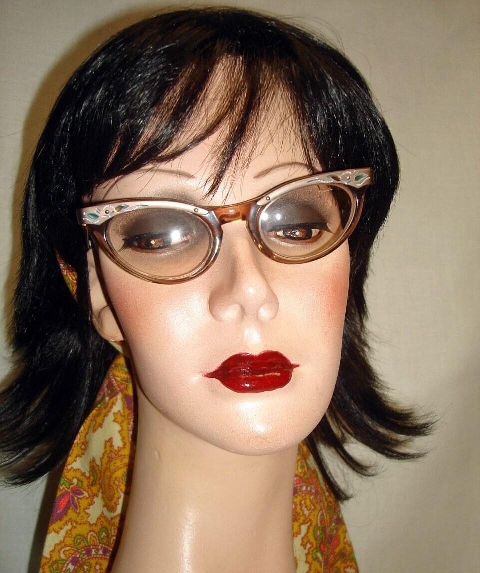 cf04cd212 True VTG 50s 60s Classic Cat Eye Glasses Frames Carved | Etsy