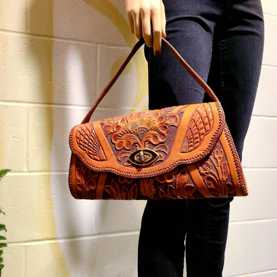 1950s Handmade, Hand Tooled Leather Top Handle Bag