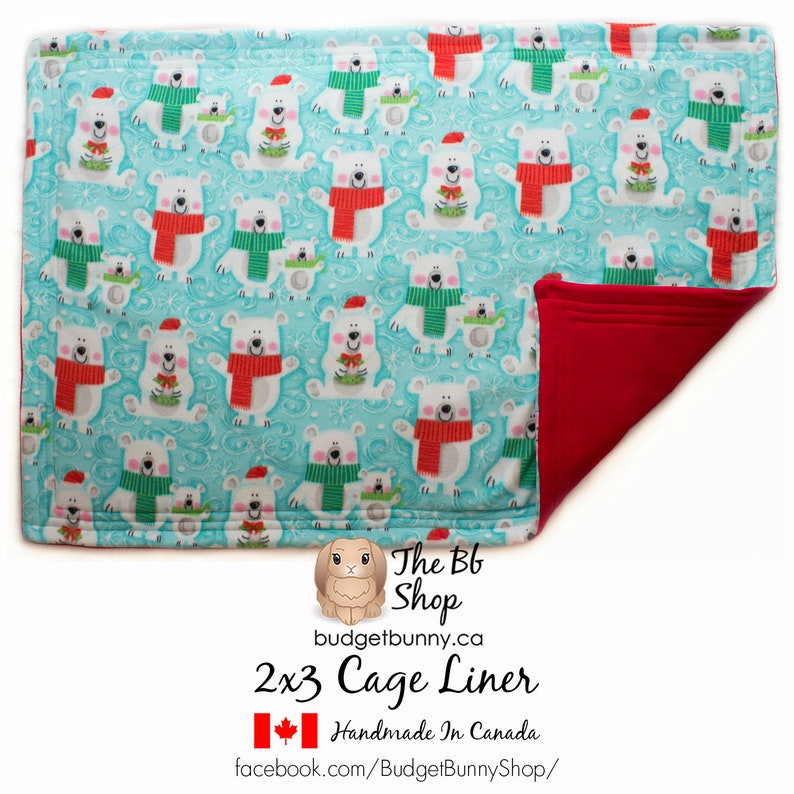 Rabbits Hedgehogs Guinea Pigs Cats /& Small Animals Holiday Print Reversible 2x3 Cage Liner