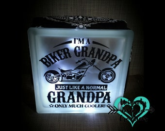 Biker Grandpa/ Dad, or Harley Davidson Light up Glass Block. Grandpa gift, dad gift motorcycle or trike