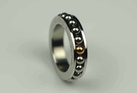 3 beads anxiety ring Handmade Worry fidget ring resizeable silver beads minimalist adjustable spinning ring calm