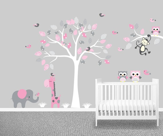 baby m dchen kinderzimmer wandtattoo baum tupfen grau etsy. Black Bedroom Furniture Sets. Home Design Ideas