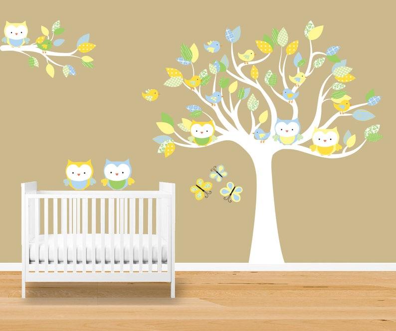 owl tree wall decal unisex nursery decor orange green   etsy