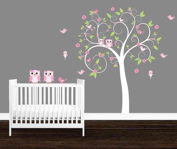 girl's room wall decals owl tree wall decal girl's | etsy