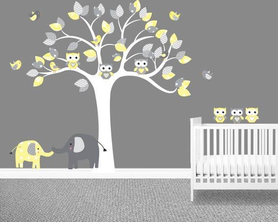 unisex nursery wall decal yellow chevron owl tree wall   etsy