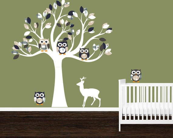 Eule Baum WandTattoo, Junge Kinderzimmer Aufkleber, Baby junge  Wandaufkleber, Hirsch Aufkleber, Wald Kindergarten Bettwäsche Set, Hirsch  Krippe ...