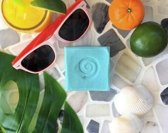 Aloha Soap tropical citrus vegan soap, vegan handmade soap, blue artisan organic vegan soap, organic vegan soap