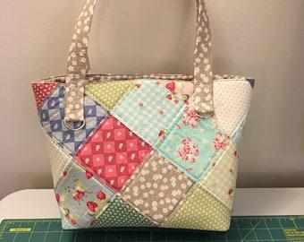 Patchwork tote - La Conner fabrics with denim bottom, lined, patchwork pocket inside