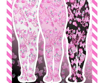 Berry Scary Yandere Tights menhera, gurokawa, guro kawaii, pastel fashion, nurse kei, menhera kei, printed tights, kawaii tights